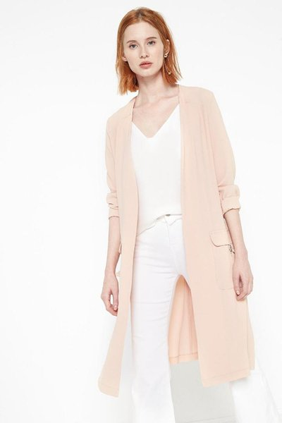 코톤 여성 핑크 트렌치 코트 7YAK05353UW