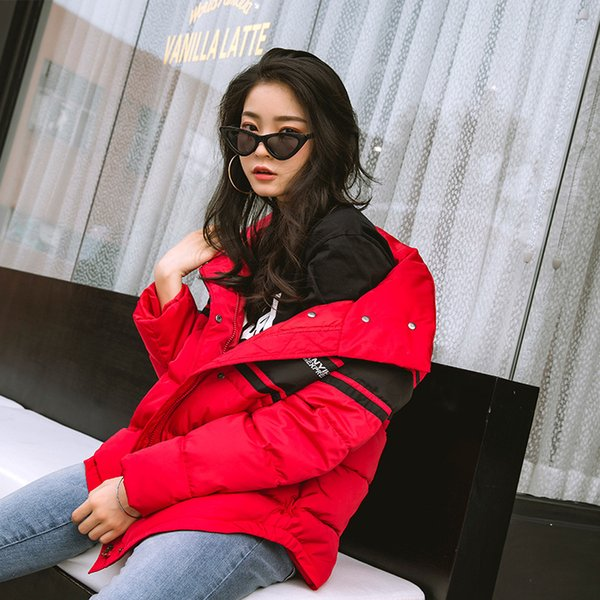 Photo Shoot 2018 New Style Korean-style Mixed Colors Versatile down Coat COUPLE'S Cotton-padded Clothes Short Large Size Basebal