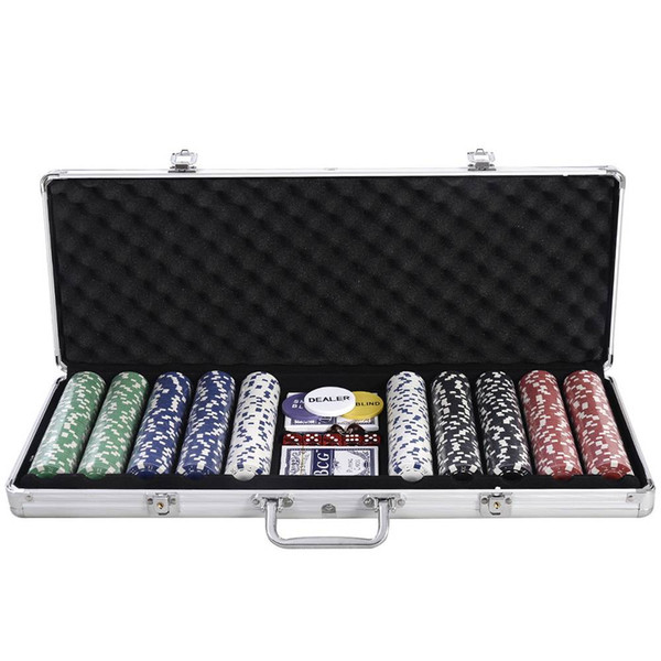 New Portable 500 Chips Poker Dice Chip Set Texas Hold'em Cards Aluminum Case for Leisure Sports Games