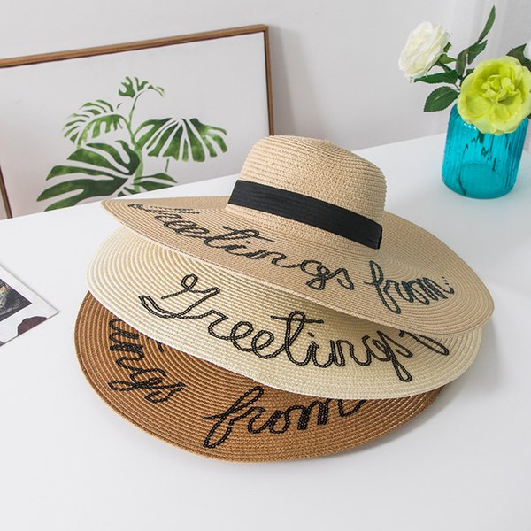 ВС шляпу не беспокоить Письмо широкими полями летние шляпы для женщин анти-УФ складной соломенной шляпе берег Женский женские шляпы шапки