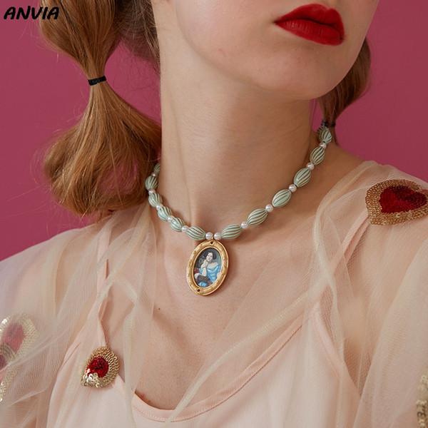 Collana vintage Dichiarazione Barocco Perla Foto d'arte Pittura a olio Ciondolo in oro Catena girocollo Perline blu Strand Regalo nuziale