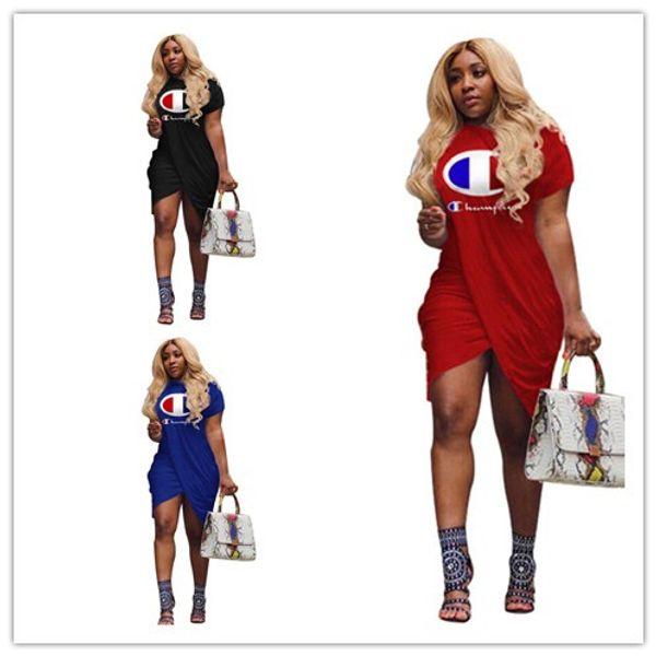 Women Champions Letter Print Dress Summer Short Sleeve Knee-Length Skirt Sports Club Street Dresses T shirt Dress Casual Clothing A413003