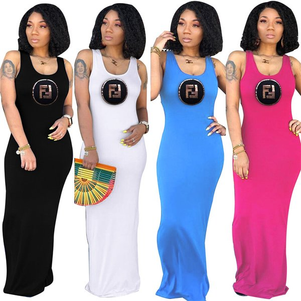 FF Letter Print Elegant Women Long Dress Slim Bodycon Maxi Dresses Summer Sleeveless Vest Beach Skirts Evening Party Skirt C42407