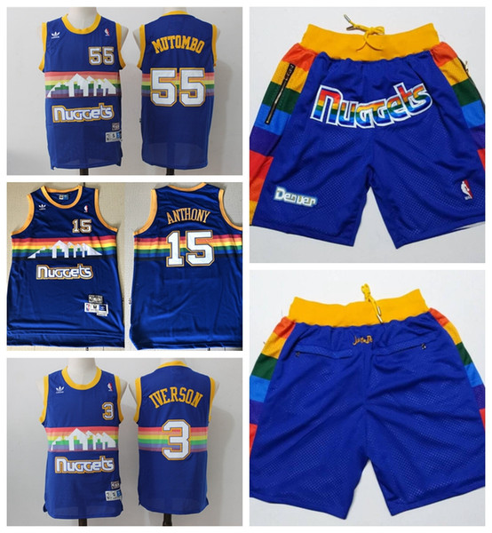 wholesale dealer bd021 cc11b 2019 Retro Classic #55 Dikembe Mutombo #15 Anthony #3 Iverson Denver Nugget  Blue Snow Mountain Basketball Jerseys Stitched Embroidery Mesh Shorts From  ...
