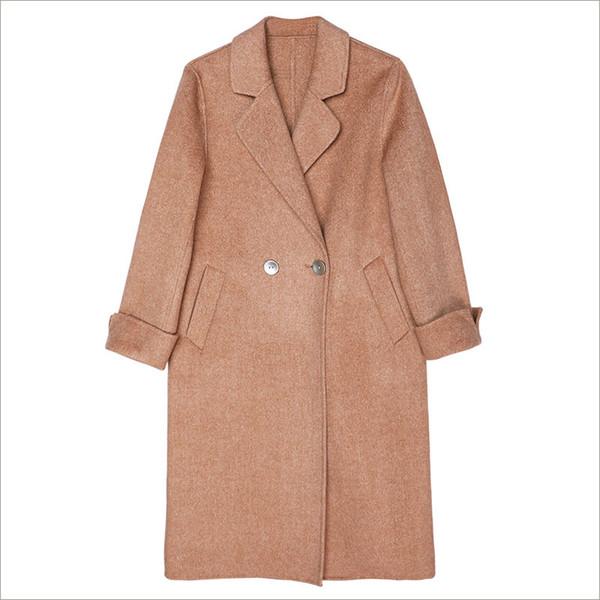 Wool coat Fall and Winter 2018 New Woman Mori Sandstone Double-sided Wool Fabric Slim Medium-length Overcoat