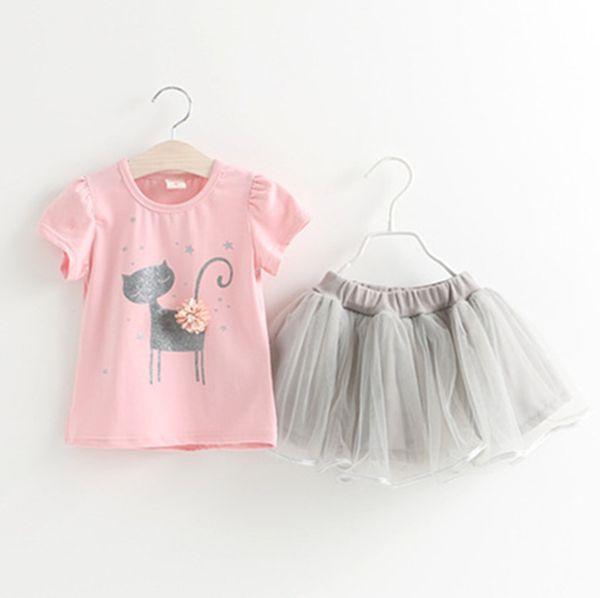 New Summer Baby Girls Set Kids Children Short Sleeve Cartoon Cat T-shirt + Lace Skirt Girl 2pcs Outfits Clothing Suit 4865
