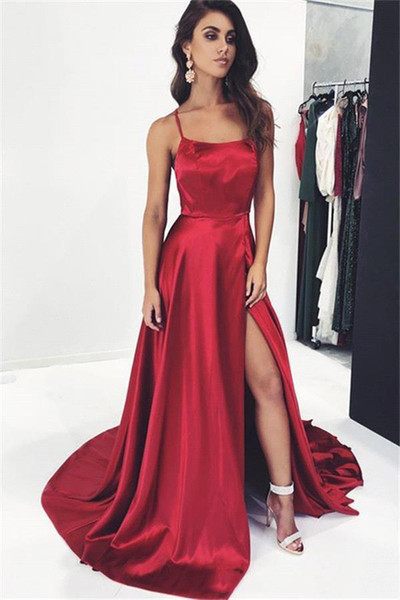 many fashionable official images special for shoe Simple Elegant Dark Red Sexy Straps Spaghetti Prom Dresses 2019 A ...