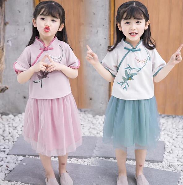 2019 nouveaux vêtements d'été Toddler Girl Outfits style chinois à manches courtes Net Veil fleur de prunier Top broderie + jupe bébé Hanfu costume