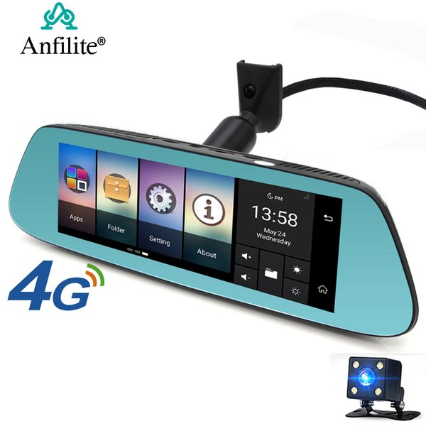 anfilite 7 inch car rearview mirror dvr 4g adas android gps navigation fhd 1080p dash camera wifi monitoring auto video recorder