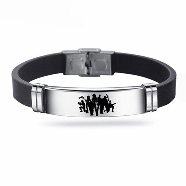 Fortnight Game Battle Royale Bracelet Stainless Steel Adjustable Silicone Bracelets Gifts for Kids Men bangle Jewelry