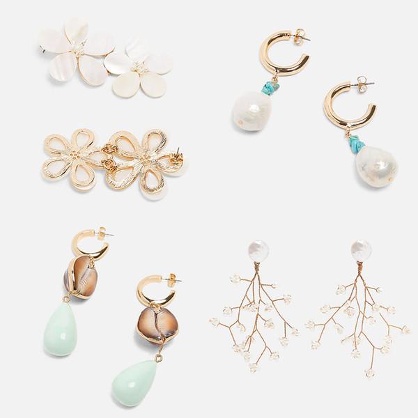 JUST FEEL New Trendy Freshwater Pearl Shell Drop Dangle Earrings Women Round Geometric Boho Pendant Punk Earring Party Summer