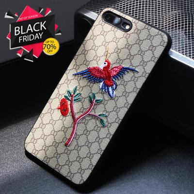 Chic Embroidery Phone Case for Iphone7 8 6 6S Plus Flower Bird Bees 3D Classical Fashion Mobile Phone Case for Iphone X