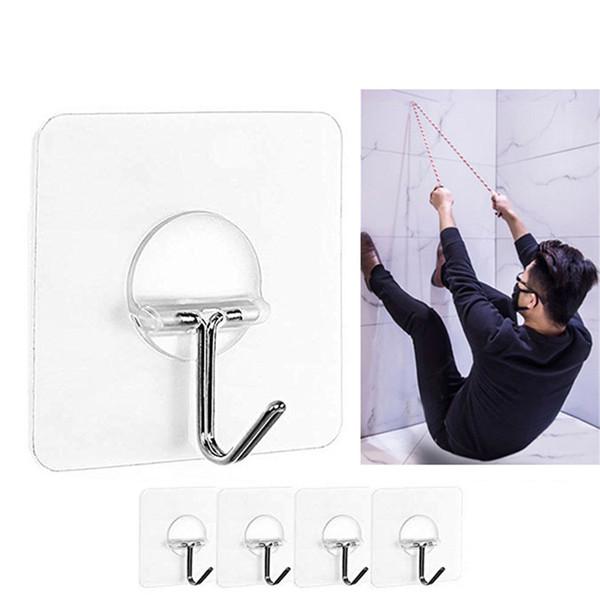4pcs fortes transparentes Ventosa Ventosa Ganchos de parede Cabide para cozinha Casa de banho toalha cabides Mop Handbag Titular