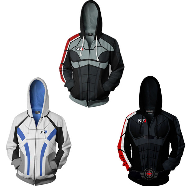 Game Mass Effect:Andromeda N7 Full Zip Mens Hoodies Cool Pullover Thin Coat Jacket Unisex Jumper Sweatshirt Cosplay