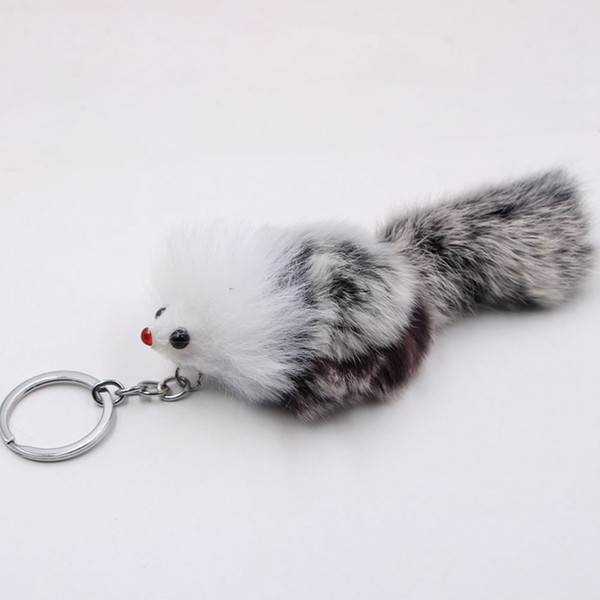 Cute Fluffy Bow-knot Fox Ball Key Chain Pompom Artificial Fox Fur Charm Keychain Car Bag Key Ring Women Jewelry Color Random