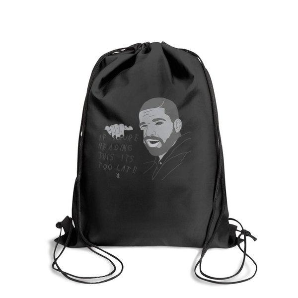 Drawstring Sports Backpack Drake If You're Reading Song This It's Too Latecute adjustable Yoga Pull String Backpack