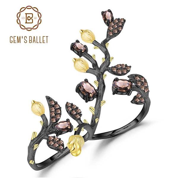 GEM BALLET Argent 925 1.57Ct naturel quartz fumé Déclaration de bague réglable Arbre deux doigts Bagues de femmes Bijoux