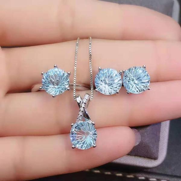 S925 Pure Silver Голубой топаз Кольцо ожерелье серьги набор простой темперамент элегантный подходит для женщин