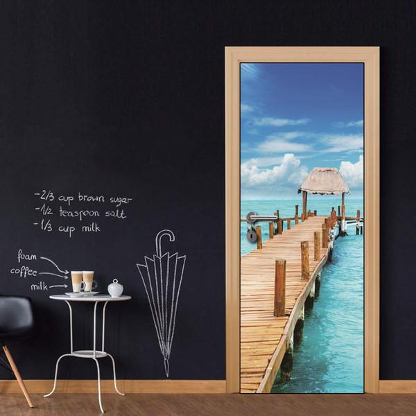 Free shipping DIY Door Sticker Seaside Wooden Bridge door decals decorations for Bedroom Living Room wallpapers Decal home accessories