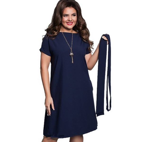 2019 New Summer Fashion Women Sexy Party Plus Size Maxi Straight Solid Dresses with belt Elegant Ladies Women Dress Loose Large Sizes Slim