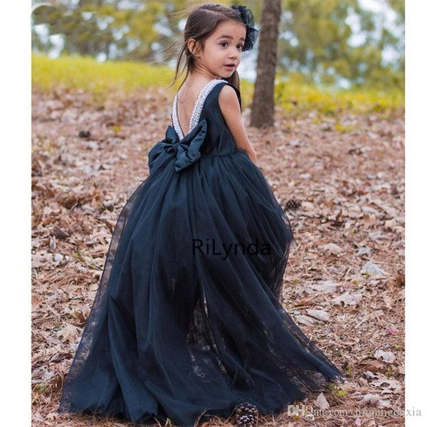 Flower Girl Dress Formal 2-14Years Floral Baby Girls Dresses Vestidos 4 Colors Wedding Party Children Clothes Birthday Clothing