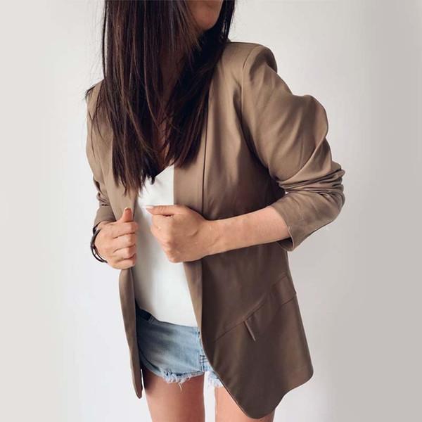 New Slim Women Work Fashion Suit Solid Color Office Ladies Uniform Design High Quality Female Unbuttoned Lapel Coat