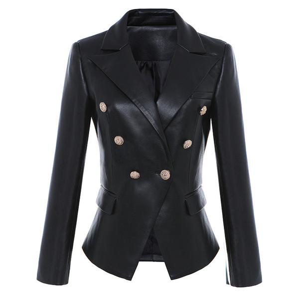 Brand Women Jacket Black Long Sleeve Leather Jacket High Quality Tops Lion Logo Metal Button Slim Women Jacket Coats