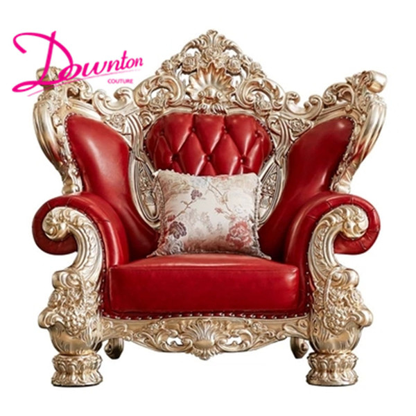 Luxury New Classical Wedding Sofa Set American Style Solid Carved Wood Frame Genuine Leather Living Room Furniture Hotel Sofas Royal Throne