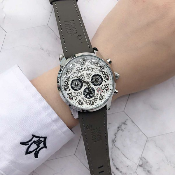Men watche luxury mont brand famou brand new tyle wri twatch de igner chronograph leather trap reloj de lujo relógio de luxo