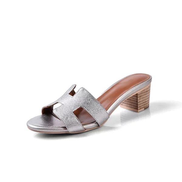 Cuir Véritable Femmes Pantoufles Microgroove Veau En Cuir Splice Sandales Pantoufles 5 cm De Luxe Designer Chaussures pour Dames