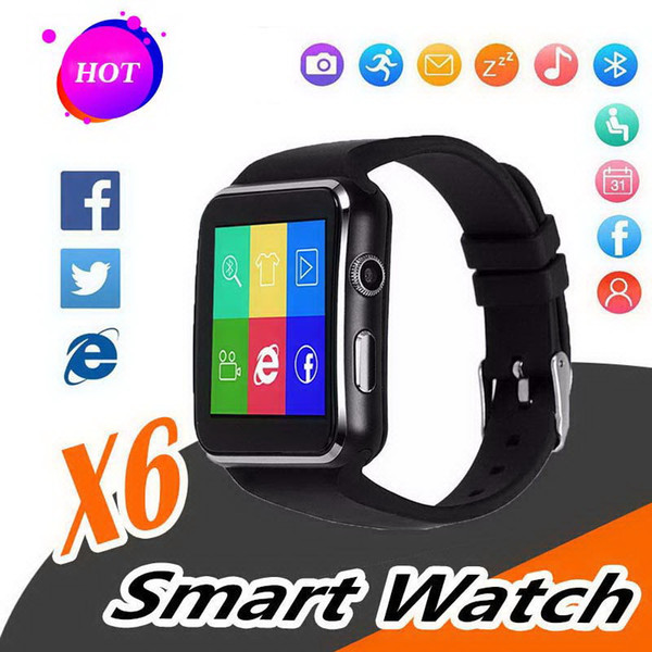 X6 Smart watches Curved Screen bracelet Phone with SIM TF Card Slot with Camera for Samsung android smartwatch