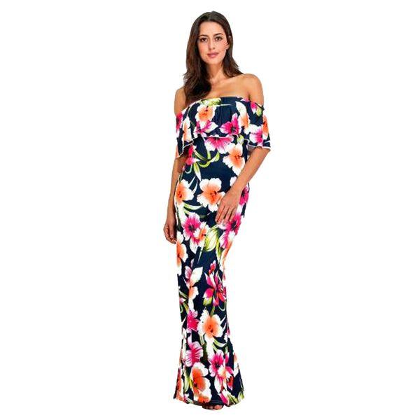 8417d47497 2019 Summer Long Dress Women Maxi Ruffle Plain Off Shoulder Floral Print  Cocktail Bodycon Dress Vestidos