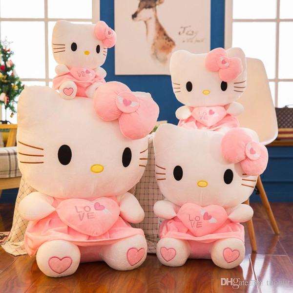2019 neue Ankunft KT Katze Plüschspielzeug Plüschtiere Hallo Kitty Mädchen Kissen Puppen Valentinegeschenk Großhandel