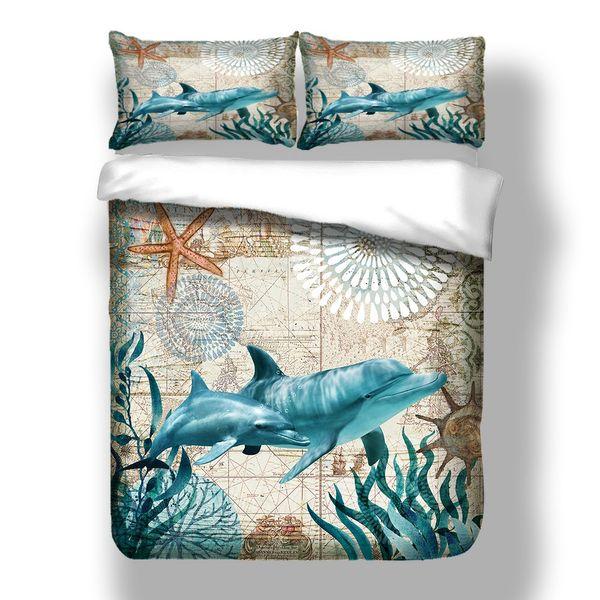 Frete grátis novidade presente grama do mar golfinho starfish imprimir conjunto de cama capa de edredão com fronha gêmeo rainha cheia king size transporte da gota