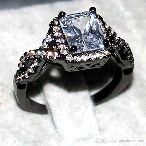 Eternal 925 Silver Black gold Jewelry Princess-cut 6CT square White Topaz Diamond Rings finger Anillo de boda para mujer talla 5-11