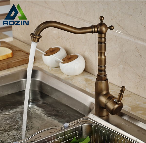 Deck Mount Brass One Hole Hot Cold Water Kitchen Mixer Taps Antique Single Lever Kitchen Faucet