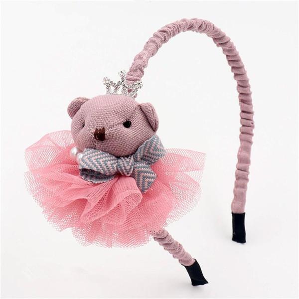 Diadema infantil para niños, tela linda de dibujos animados, diadema de oso 3D, princesa, corona, hilo, perla, banda para el cabello, aro, accesorios para el cabello para niñas