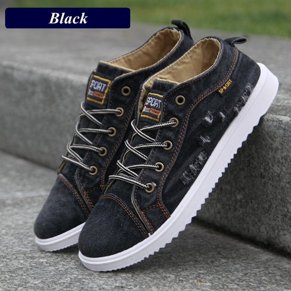 British Style Men Casual Shoes Denim Canvas Shoes Men Sneakers 2018 High Top Black Man Ankle Boots Flat Footwear Chaussure Homme