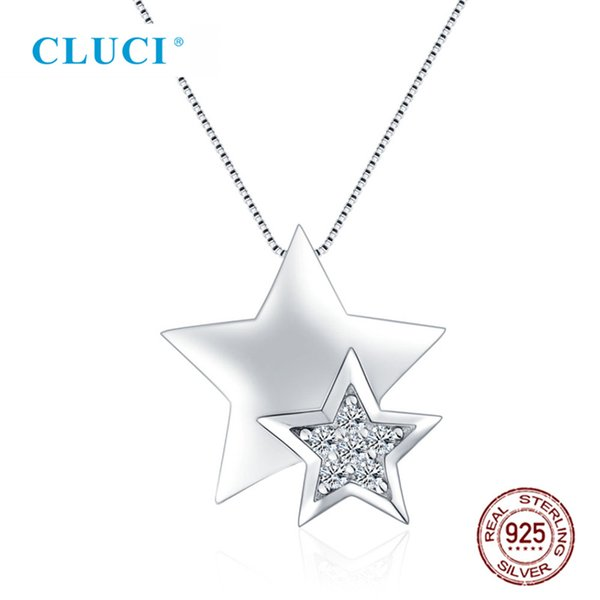 925 Sterling Silver Zircon Star Shape Pendant Necklace For Women Jewelry