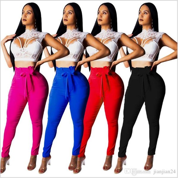 3578 cross-border European and American women's solid color high-elastic casual pants feet pants pencil pants zipper belt pocket