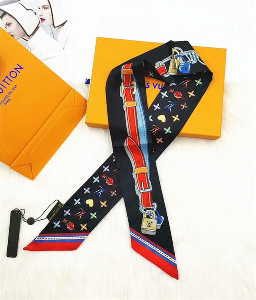 2019 nueva bufanda de seda multiusos moda de seda para hombres y mujeres banda para el cabello bolso decorativo bufanda de seda marca impresa bufanda 120 * 8 cm