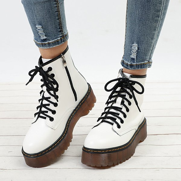 Women Autumn Ankle Boots Casual Lace Up Low Heels Female Platform Shoes Ladies Gladiator Short Botas Fashion Sewing Footwear SH190930