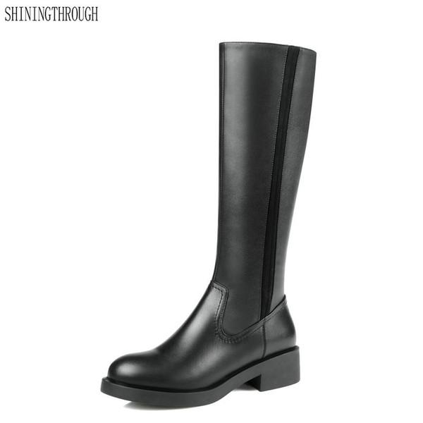 Las mujeres de calidad superior de la rodilla botas altas 4 cm tacones altos largos calientes botas de moto de cuero genuino Party Club zapatos de vestir