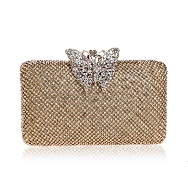 Hot Hard Case Women Gold Crystal Evening Clutches Bags Bridal Handbag Rhinestones Butterfly Hand Clutch Wedding Purse Diner Day Clutch Bags