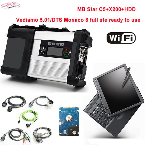 2019.03 V Yazılım ile YENI MB YıLDıZ C5 HDD Araba Teşhis aracı Laptop için X200T Tarayıcı SD Bağlayın 5 wifi fonksiyonu ile araba / kamyon