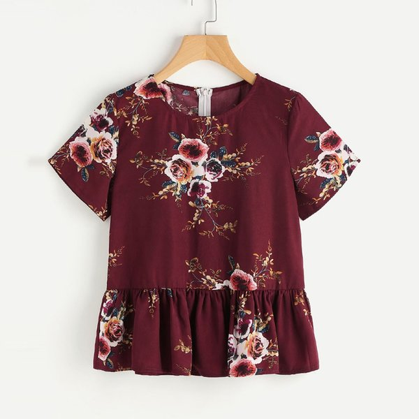 Feitong Women's Floral Print Blouses Female Ruffle Hem Ruched Short Sleeve Chiffon Top Blouse Ladies Elegant blusas mujer 2019