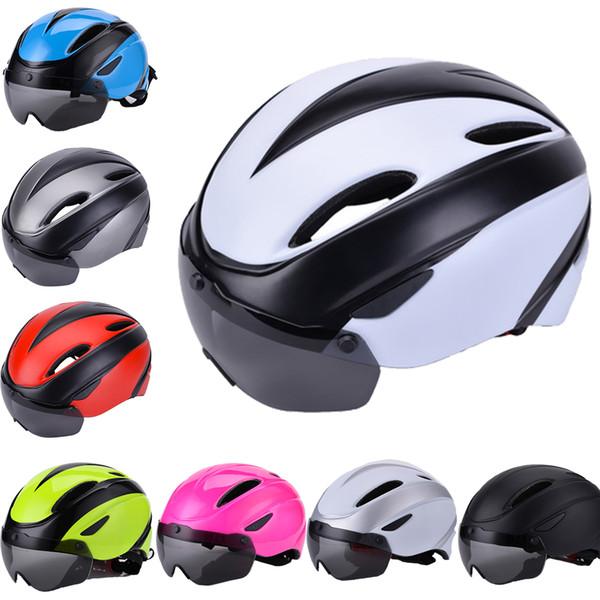 Cascos de la bicicleta MTB de hombre y mujer transpirable EPS + PC cubierta de la bici del camino del casco de ciclismo con magnético extraíble gafas con lentes unisex