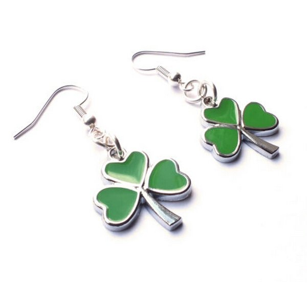 2019 New Style Vintage Enamel Drop Glaze Green Shamrock Charm Pendant Kitsch Punk Drape Earring Fashion Jewelry for Women DIY Holiday Gift