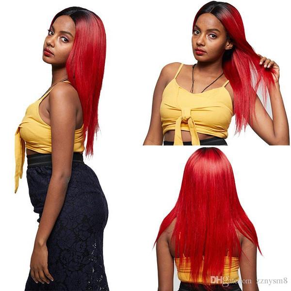 Cheveux Lace Front 4 * 4 perruques de fermeture perruques brésiliennes droites de cheveux humains 24 pouces avec 150% de densité Remy cheveux Ombre perruque rouge knhj21
