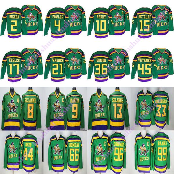 Mighty Ducks Film-Trikot 99 Adam Banks 96 Charlie Conway 21 Dean Portman 9 Paul Kariya 8 Teemu Selanne Gordon Bombay Hockey Jersey